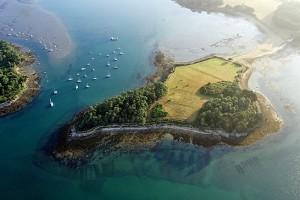 île du Golfe du Morbihan vue du ciel - chambre d'hôtes Lueur des îles