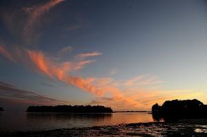 coucher de soleil Golfe du Morbihan - maison d'hôtes Bretagne sud